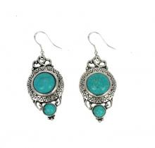Turquoise silver Earrings on 925 sterling silver hooks