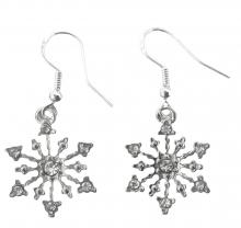 Snowflake earrings on 925 sterling silver hooks