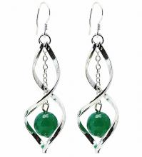 Earrings in Jade on 925 sterling silver hooks
