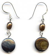 Brown shell ethnic earrings