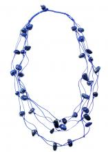Necklace made of Lapis lazuli on braided wires